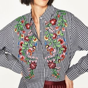 ZARA Embroidered Gingham Button Down Shirt Small